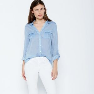 Joie Calida Top in Chambray Blue Medium Button